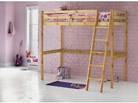 Kaycie Wooden High Sleeper Single Bed Frame - Pine
