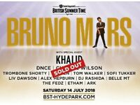 Bruno Mars Ticket Hyde Park Sat 14 July 2018