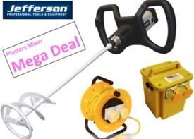 JEFFERSON 1300 W PLASTERS MIXING DRILL 110V 2 SPEED TRANSFORMER 25M CABLE REEL