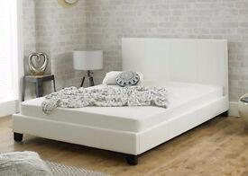 CLEARANCE KINGSIZE BEDSTEAD WHITE FAUX LEATHER