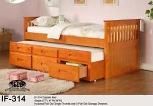 NEUF Lit capitaine en bois expresso,miel,cerise ou blanc avec lit gigogne