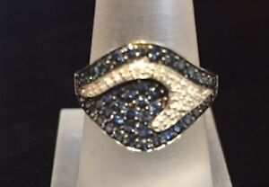 Ocean of Sparkle Diamond and Sapphire Ring