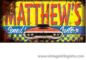 Full-Custom 4' Vintageish Signs! Great gift idea for car nuts!