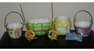 Ceramic Easter Baskets,Bowls,Straw Wreaths.. As shown