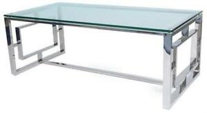 GLASS AND CHROME COFFEE TABLE (MS2302)