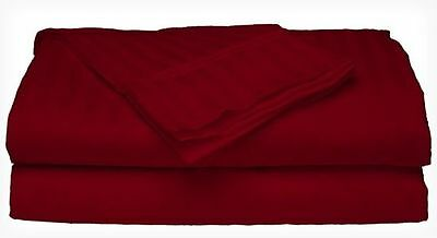 Twin Size Burgundy 400 Thread Count 100% Cotton Sateen Dobby Stripe Sheet Set Bedding