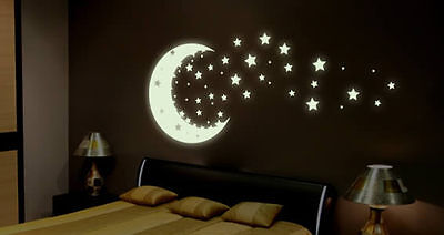 GLOW IN THE DARK MOON AND STARS --High Quality Luminescent Sign Vinyl Stickers *