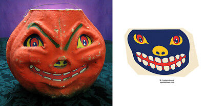GLASSINE PAPER REPLACEMENT FACE - SMILING  HALLOWEEN JOL PAPER MACHE LANTERN #B - Halloween Lanterns Paper