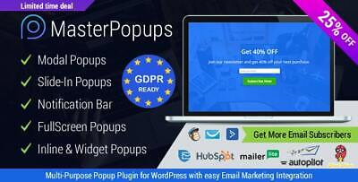 Wordpress Master Popups Popup Plugin For Email Subscription - Update