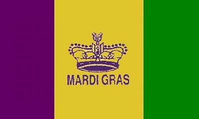 Mardi Gras King's Crown Flag 3x5 Ft Orleans Purple Yellow Green Party Parade