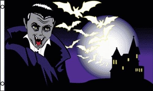 Halloween Vampire & Bats Flag 3x5 Party Decoration Haunted House Dracula Banner