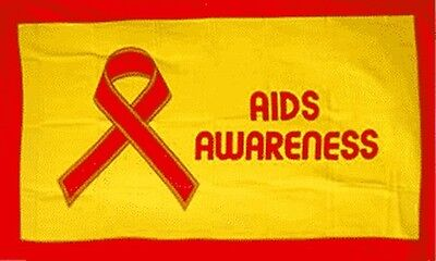 Aids Awareness Flag 3x5 Ft Red Ribbon On Yellow Hiv Aids Support Std Autoimmune