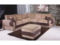 70% Off - Brand New Tango 5 Seater Large Jumbo Corded Fabric Corner Sofa Suite in Mink/Grey Color