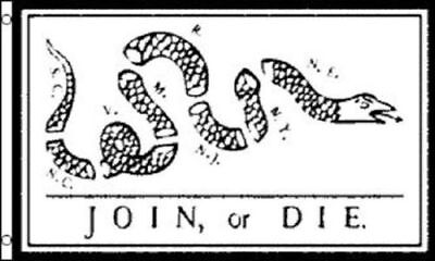 Join Or Die Flag Revolutionary War Banner Benjamin Franklin Snake Pennant 3X5 Ft
