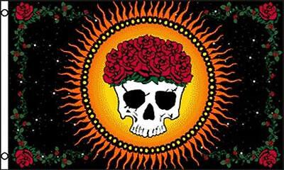 GRACIOUSLY DEPARTED 3 X 5  FLAG banner FL722 SKULL AND ROSES hippie items NEW