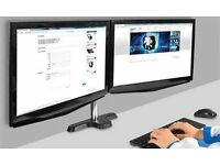 RCTIC Z2 3-Stage Articulating Dual Monitor/TV Arm with 4-Port USB Hub