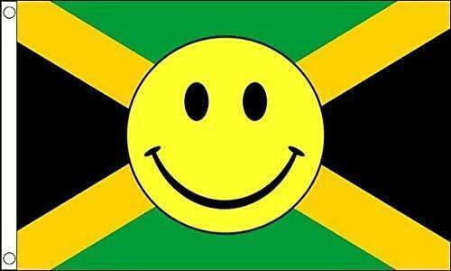 JAMAICAN SMILEY FACE ( JAMAICA ) FLAG 5ft X 3ft