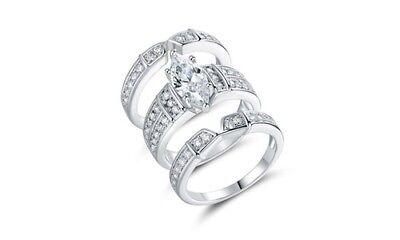 Best Silver Women's 2.75 cttw cz Marquise Cut Trio Engagement Ring Set Size: