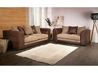 NEW FABRIC SOFA *** BYRON CORNER SOFA BEIGE / BROWN PORTO JUMBO CORD LEATHER FOAM SEATS - SALE