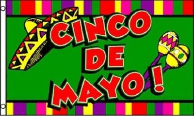Cinco De Mayo Flag Mexican Party Banner May 5 Sign Large 3x5 Foot Bar Sign (5 De Mayo Party)