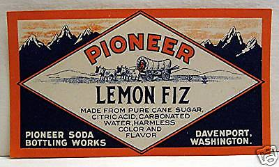 Pioneer Lemon Fiz Old Soda Label Davenport Washington