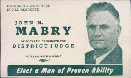 JOHN MABRY DISTRICT JUDGE DEMOCRATIC HUERFANO COUNTY 1950s POLITICAL CARD W/ BIO