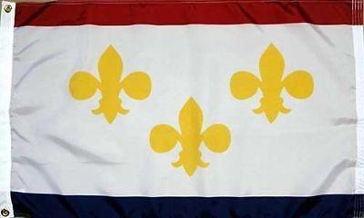 Used, City of New Orleans Flag 3x5 ft NOLA Louisiana Fleur de Lis Banner Mardi Gras LA for sale  Pinellas Park