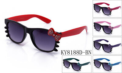 Hello Kitty Sunglasses Rhinestone Bow & Whiskers Black Frame Color Bow & Temple (Hello Kitty Whiskers)