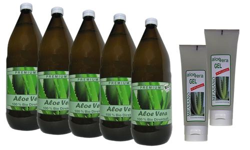 5 x 1000 ml  Bio Aloe Vera DIREKTSAFT + 2 x 200 ml Hautgel 98% - Paketangebot