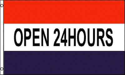 Open 24 Hours 3x5ft.flagbannersign Same Day Ship