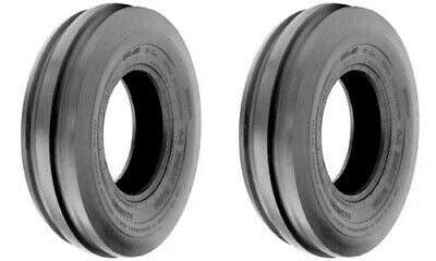 Two 4.00-15 Tri-rib 3 Rib Front Tractor Tires 4 Ply Rated Tubeless