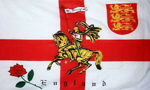 3' x 2' Rose Lion St George Cross Knight Flag English England Saint Georges Day