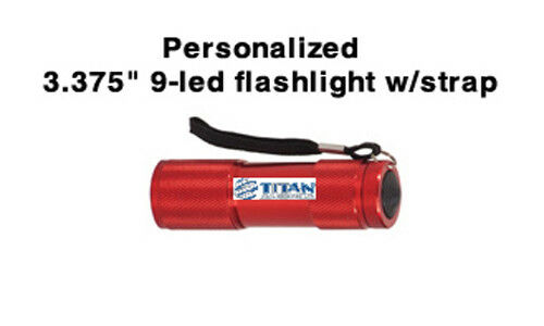 """3 3/8"""" Red 9-LED Flashlight with Personalization"""
