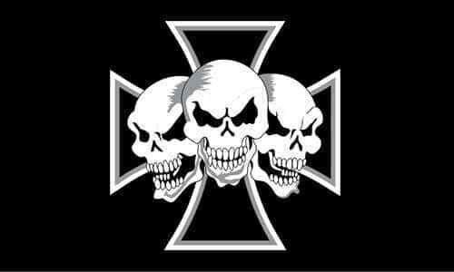 IRON CROSS FLAG with Three Skulls 5