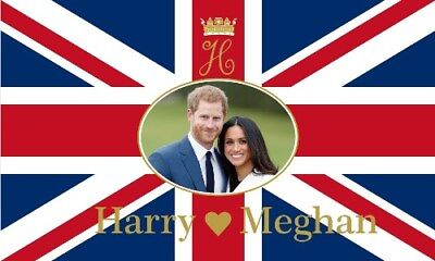 Royal Wedding Prince Harry and Meghan Markle 5ft x3ft (150cm x 90cm) Flag