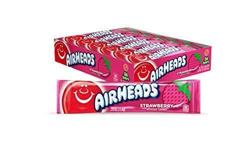 Airheads Candy, Individually Wrapped Full Size Bars, Strawberry, Bulk Taffy, Non