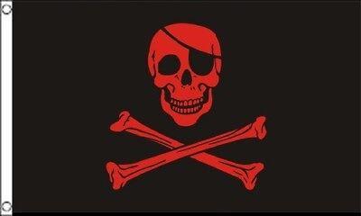 Halloween Skulls And Bones (3x5 Pirate Black and Red Blood Patch FLAG 5' x 3' Skull Skeleton Bones)