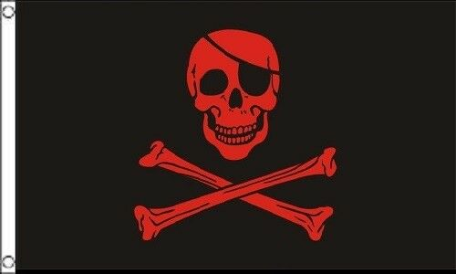 3x5 Pirate Black and Red Blood Patch FLAG 5' x 3' Skull Skel