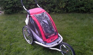 MEC single bike trailer with jogging stroller attachments.