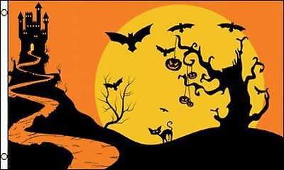 Haunted Castle Flag 3x5 ft Halloween Party Decoration House Trick or Treat Bats  - Halloween Haunted Castle