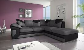 BRAND NEW- Jumbo Corded Corner Sofa- Black & Grey And Brown & Beige