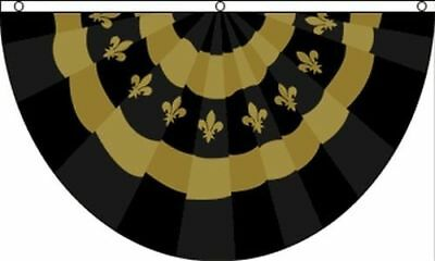 Fleur De Lis Black Gold Bunting Flag 3x5 ft New Orleans Mardi Gras Saints Party  - Black Bunting