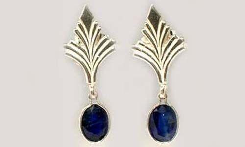 Antique 19thC Sapphire Celtic Roman Greek Sorcery Sterling Dangle Earrings