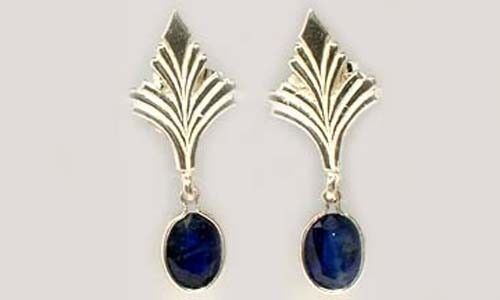 Blue Sapphire Earrings 2ct Antique 19thC Ancient Celtic Roman Greek Sorcery Gem
