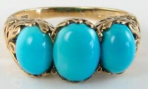 LARGE 9K 9CT GOLD  VICTORIAN INSP TURQUOISE 3 STONE TRILOGY RING