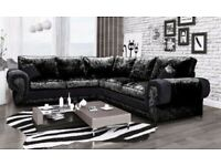 ***QUICK DELIVERY*** BRAND NEW TANGO CRUSHED VELVET CORNER SOFA OR 3+2 SET ON SPECIAL OFFER
