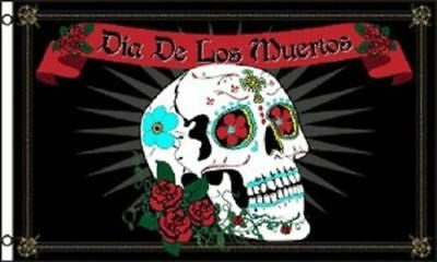 3x5 DIA DE LOS MUERTOS flag banner DAY OF THE DEAD HOLIDAY DECORATED SKULL 3'x5'](Dia De Los Muertos Flags)
