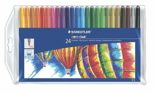 NEW Staedtler Noris Club Pack of 24 Felt-Tip Colouring Pens Assorted Colours
