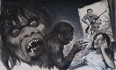 ORIGINAL ART SUPERBEAST 1972 ILLUSTRATION MOVIE POSTER HORROR PAINTING VINTAGE
