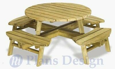 Round Picnic Bench (Traditional Round Picnic Table With Benches Out Door Furniture Plans #ODF04 )